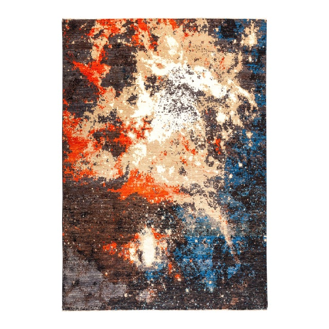 """Eclectic Hand Knotted Area Rug - 6' 4"""" X 8' 10"""" For Sale"""
