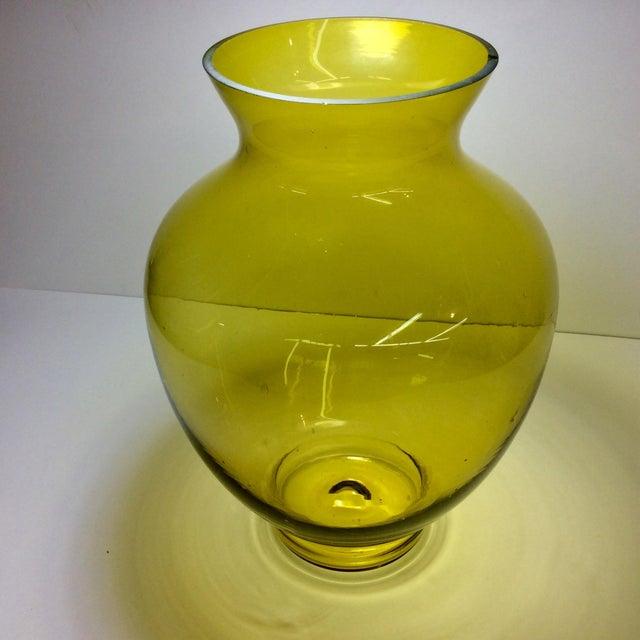 Green Large Mid-Century Citrine Art Glass Vase For Sale - Image 8 of 8