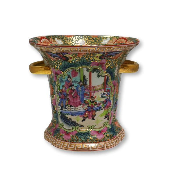 Vintage Chinese Rose Medallion Vase With Gold Handles For Sale - Image 9 of 9