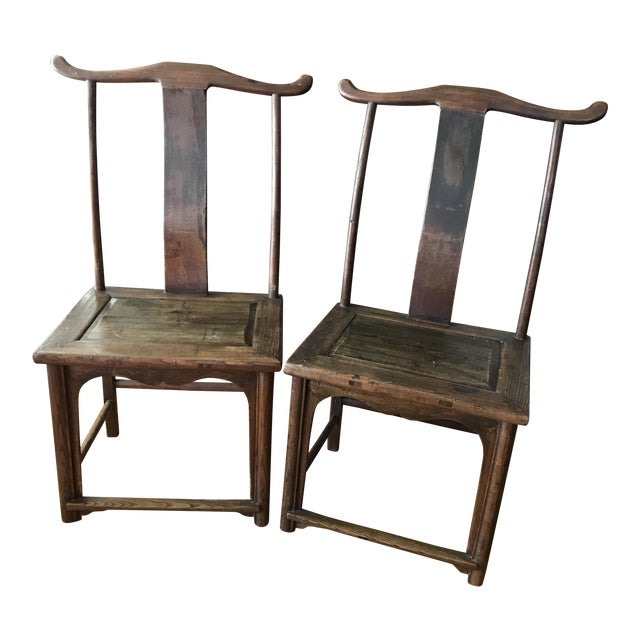 Antique Chinese Wooden Chairs - a Pair For Sale - Antique Chinese Wooden Chairs - A Pair Chairish