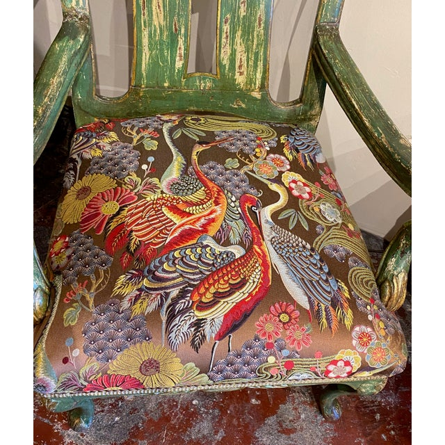 Textile Italian Paint and Gilt Arm Chair For Sale - Image 7 of 10