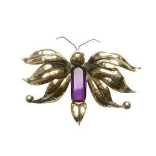 Massive Sterling Amethyst Crystal Butterfly Brooch C 1950s For Sale