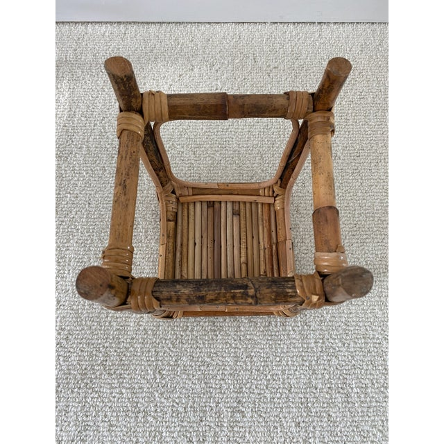 Vintage Bamboo Rattan Plant Stand/Table Riser For Sale In New York - Image 6 of 8