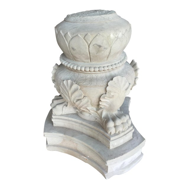 Carved Stone Claw Foot Pillar Base - Image 1 of 9