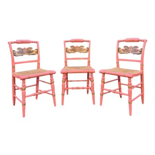 Set of 3 L. Hitchcock Pink Cornucopia Chairs - Extremely Rare Color For Sale