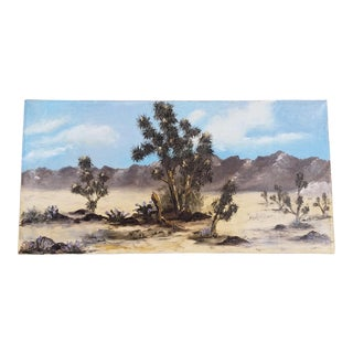 Mid Century Desert Landscape Painting, Signed For Sale