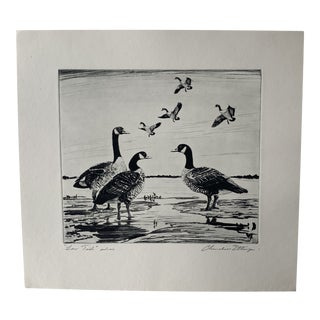 """1950s """"Low Tide"""" Waterfowl Landscape Artist Proof Print from Wood Etching by Churchill Ettinger For Sale"""