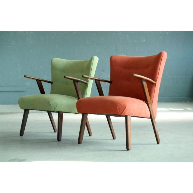 Pair of Danish 1950s Teak Lounge or Cocktail Chairs in the Style of Kurt Olsen For Sale In New York - Image 6 of 9