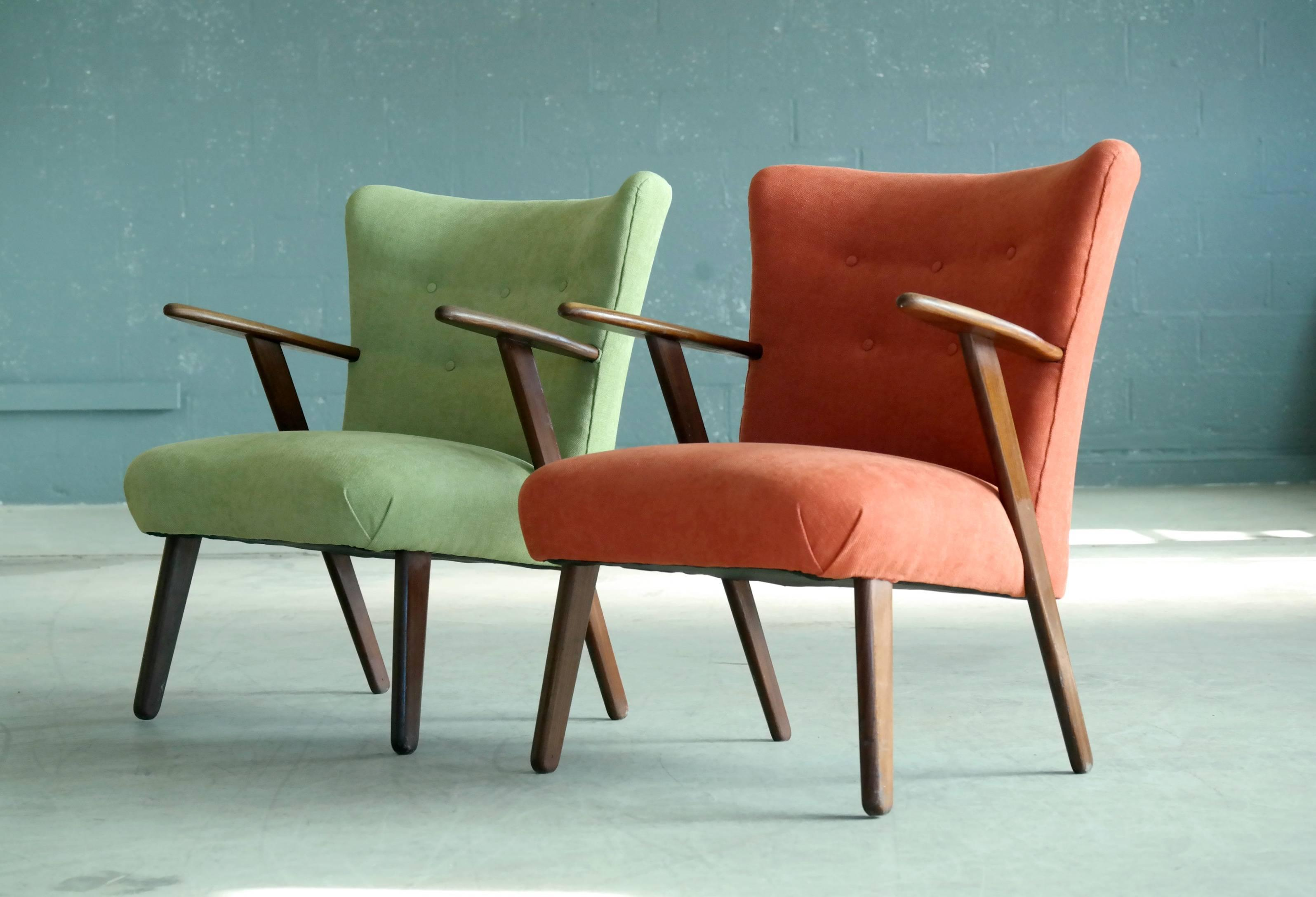 Pair Of Danish 1950s Teak Lounge Or Cocktail Chairs In The Style Of Kurt  Olsen For