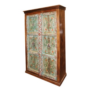 1920s Antique Indian Hand Painted Distressed Armoire Cabinet For Sale