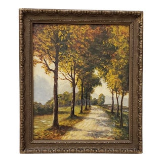 """""""Golden West Autumn Path in the Country"""" Painting by Dave Mitchell C.1924 For Sale"""
