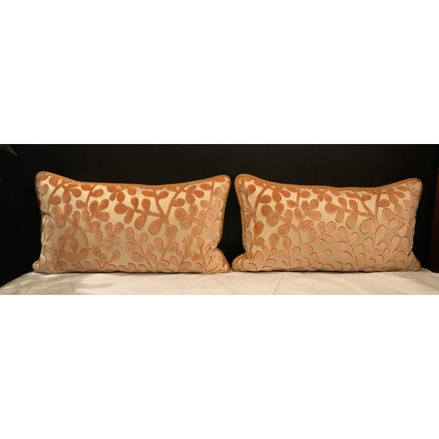 Transitional Beacon Hill Summer Sonata Shell Silk Velvet Epingle Lumbar Pillows - a Pair For Sale - Image 6 of 6