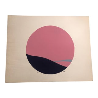 Pink, Purple & Light Blue Colored Minimalist Hand-Painted Serigraph 6/16 by Geoffrey Graham For Sale
