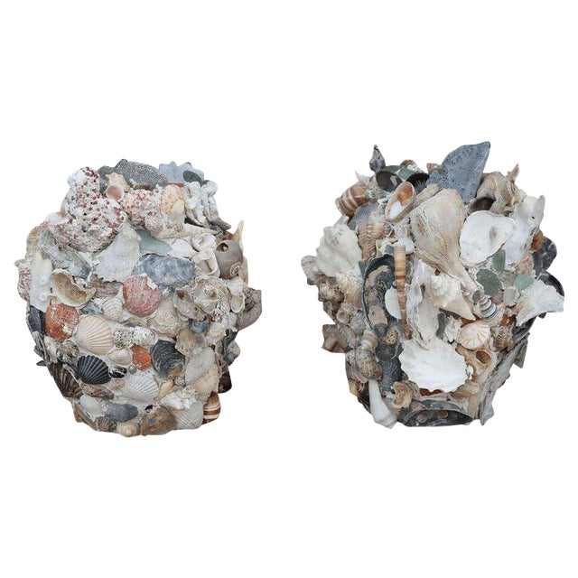 Shell-Covered Terracotta Cache-Pots For Sale