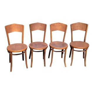 1920s Traditional Curved Back Bentwood Dining Chairs - Set of 4