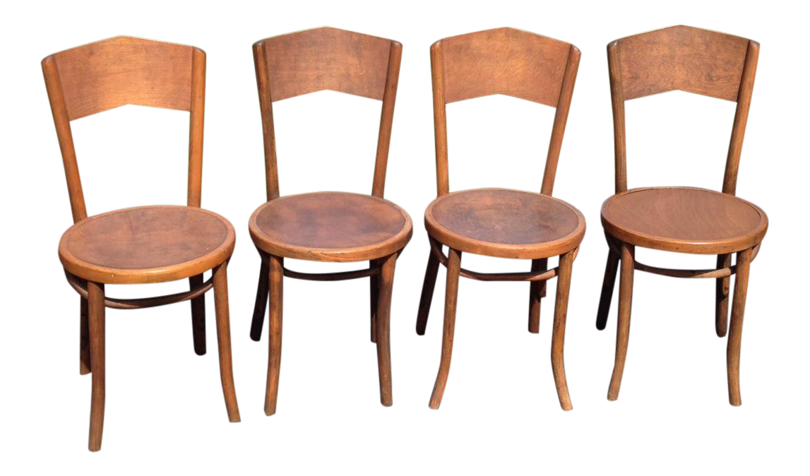 1920s Traditional Curved Back Bentwood Dining Chairs   Set Of 4 For Sale