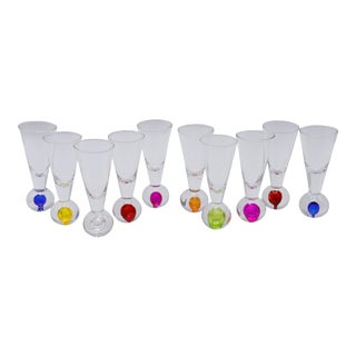 Blown Glass Shot Glasses - Set of 10 For Sale