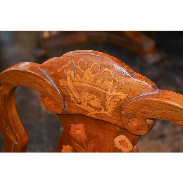 Late 19th Century Set of Six 19th Century Dutch Marquetry Inlaid Dining Chairs For Sale - Image 5 of 11