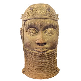 """Superb Large Ife Clay / Terracotta Oba Head Edo People Nigeria African 13"""" H For Sale"""