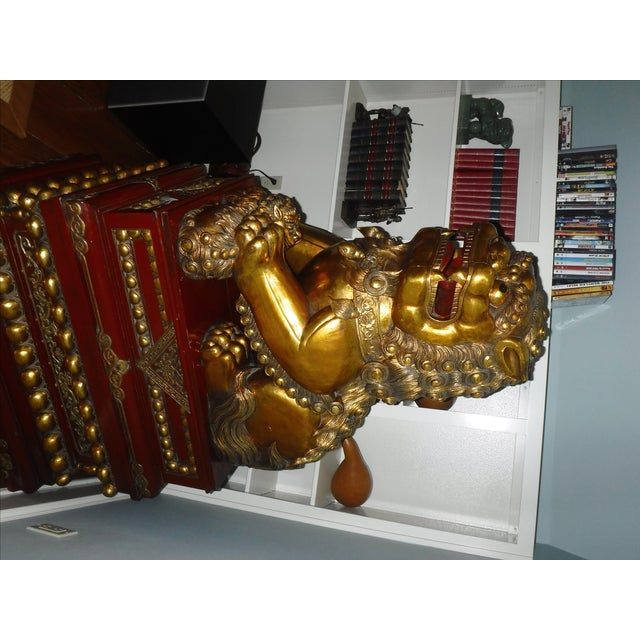 5 Feet Tall Hand Carved Wooden Foo Dogs - Pair For Sale - Image 4 of 8