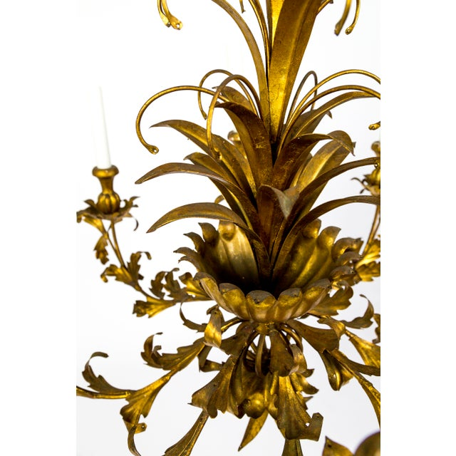 Gilt Palm Leaf Regency Chandeliers (2 Available) For Sale - Image 11 of 13