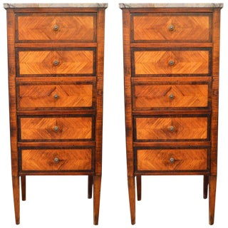 Pair of Louis XVI Style Inlay Wood Lingerie Chests, Five Drawers and Marble Tops For Sale