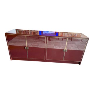 1970s Vintage Maison Jansen Merlot Lacquer Sideboard For Sale