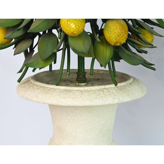 Metal Pair of Vintage Italian Painted Tole Lemon Bush Lamps in Cast Stone Urns For Sale - Image 7 of 13