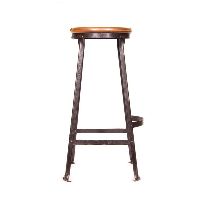 Vintage authentic factory shop steel and maple stool. 7 available. Seats measures 13″ in diameter, stool stands 30″ in...