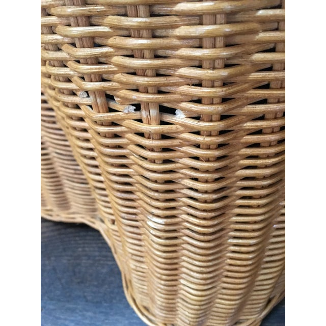 1970s Boho Chic Trompe l'Oeil Draped Wicker Rattan Ghost Table For Sale - Image 9 of 11