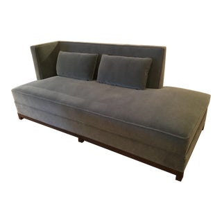 Contemporary Grey Blue Mohair Chaise Lounge Couch For Sale