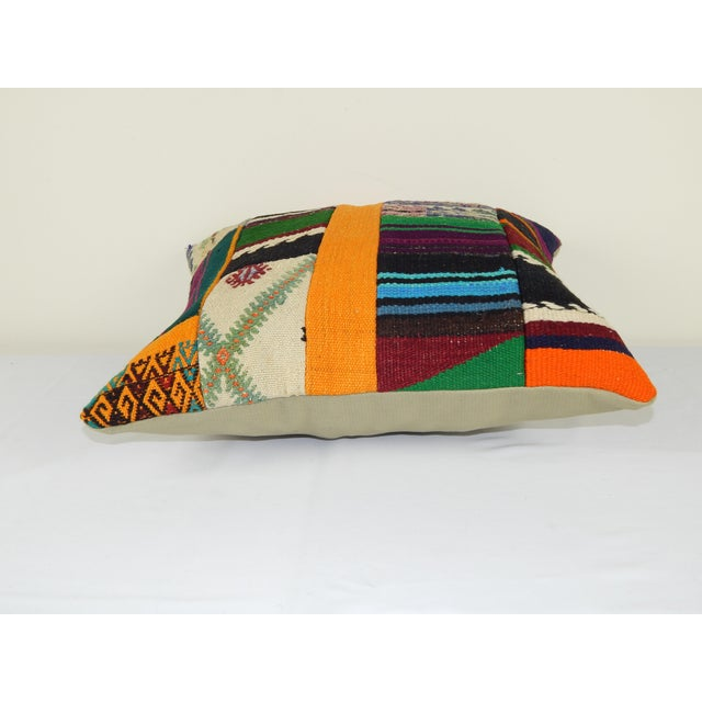 "Vintage Turkish Patchwork Kilim Pillow 20"" X 20"" For Sale - Image 4 of 6"