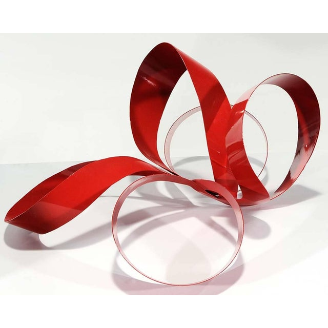Mid-Century Modern One of a Kind Red Ribbon Sculpture by Paul Chilkov For Sale - Image 3 of 6