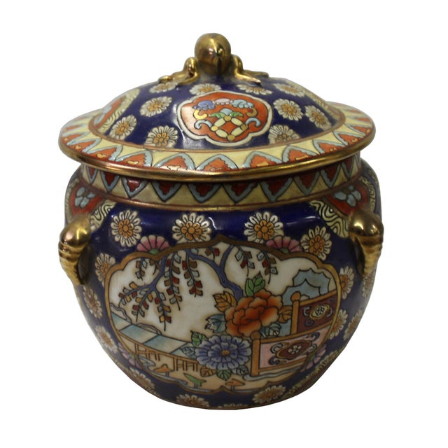 Asian Chinese Oriental Porcelain Flower Scenery Container Box For Sale - Image 3 of 6