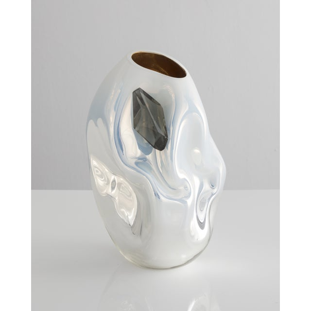 Unique petite crumpled sculptural vessel For Sale - Image 5 of 5