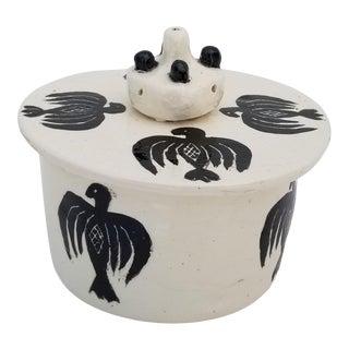 Vintage Artistic Ceramic Round Box / Lidded Jar For Sale