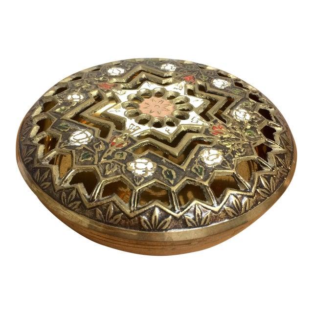 Pierced Brass Lidded Trinket Box For Sale