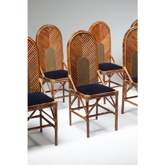 1970s Vivai Del Sud Dining Chairs in Bamboo, Brass & Blue Velvet - Set of 8 For Sale - Image 11 of 13