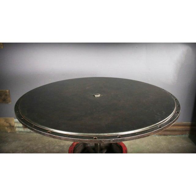 "1930 Industrial Sander Drum 40"" Pub Table For Sale - Image 4 of 6"