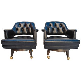 Mid-Century Leather Chairs Design by Monteverdi Young - A Pair For Sale