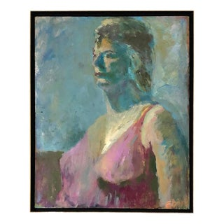1970s Vintage Abstract Oil on Canvas Portrait of Woman Signed & Framed Painting For Sale