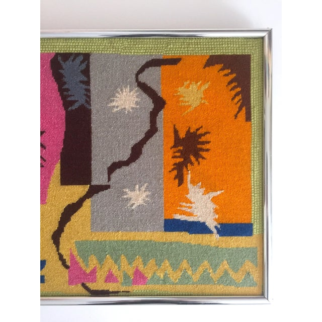 """Mid-Century Modern Vintage Mid Century Modern Henri Matisse """"Cut Outs"""" Framed Hand Needlepoint Art For Sale - Image 3 of 10"""