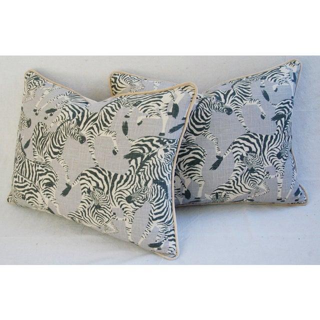 """Gray Safari Zebra Linen & Velvet Feather/Down Pillows 24"""" X 18"""" - Pair For Sale - Image 8 of 13"""
