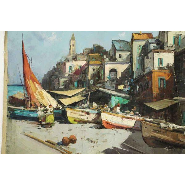 Impressionism Canvas Marina Village View Oil Painting For Sale - Image 3 of 7