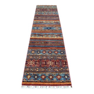 Khorjin Design Colorful Kazak Pure Wool Runner Hand Knotted Rug For Sale