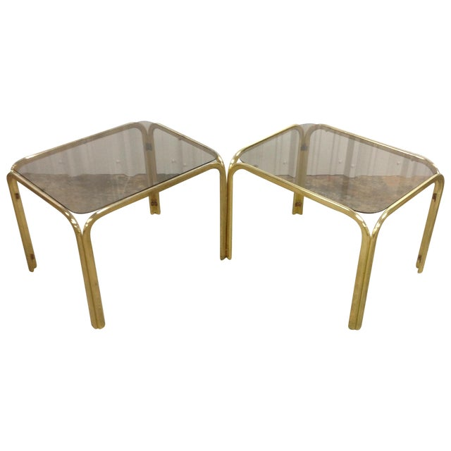 Regency Brass & Glass Waterfall Tables - A Pair - Image 1 of 5