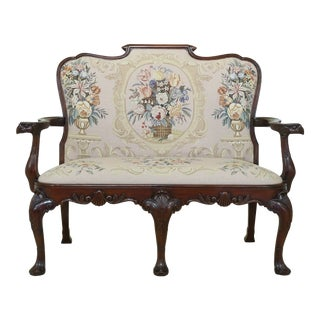Maitland Smith Needlepoint Carved Mahogany Settee Bench For Sale