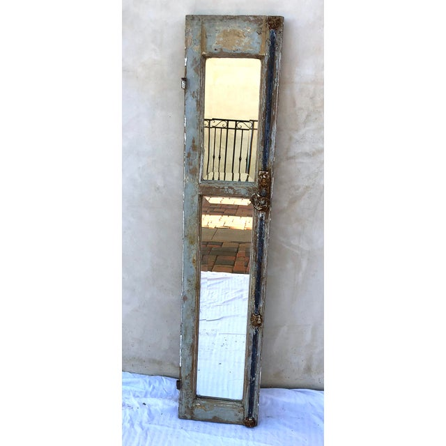 1910s Antique Provence Shutter W/Beveled Mirror For Sale - Image 5 of 8
