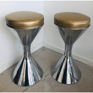 1960s Vintage Willy Guhl Polished Aluminum Bar Stools- a Pair Preview