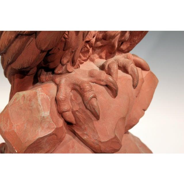 American Golden Eagle Sculpture Large Painted Plaster Figure Signed For Sale - Image 9 of 11
